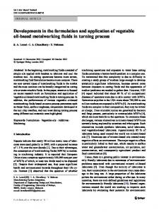 Developments in the formulation and application of vegetable oil-based metalworking fluids in turning process