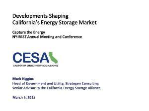 Developments Shaping California s Energy Storage Market