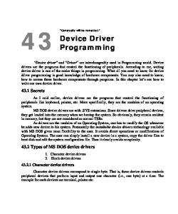 Device Driver Programming