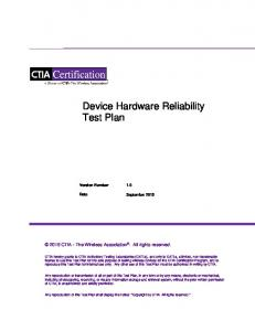 Device Hardware Reliability Test Plan