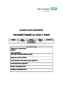 DEXAMFETAMINE for ADULT ADHD