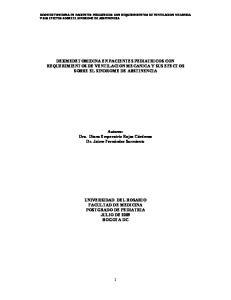 DEXMEDETOMIDINA EN PACIENTES PEDIATRICOS CON REQUERIMIENTOS DE VENTILACION MECANICA Y SUS EFECTOS SOBRE EL SINDROME DE ABSTINENCIA