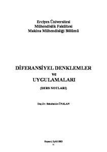 DİFERANSİYEL DENKLEMLER ve UYGULAMALARI