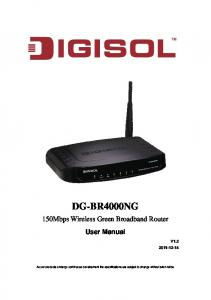 DG-BR4000NG. 150Mbps Wireless Green Broadband Router. User Manual