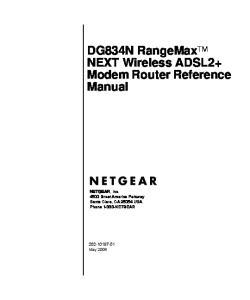 DG834N RangeMax TM NEXT Wireless ADSL2+ Modem Router Reference Manual