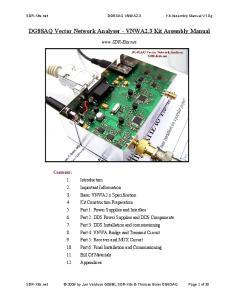 DG8SAQ Vector Network Analyser - VNWA2.3 Kit Assembly Manual