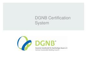 DGNB Certification System DGNB