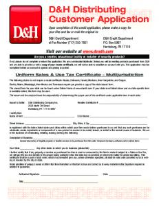 D&H Distributing Customer Application