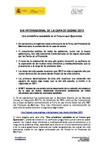 DIA INTERNACIONAL DE LA CAPA DE OZONO 2013
