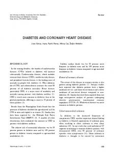 DIABETES AND CORONARY HEART DISEASE