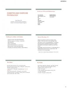 DIABETES AND EXERCISE PHYSIOLOGY