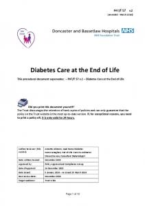 Diabetes Care at the End of Life