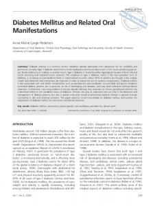 Diabetes Mellitus and Related Oral Manifestations