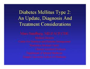 Diabetes Mellitus Type 2: An Update, Diagnosis And Treatment Considerations