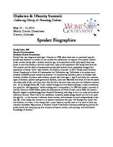 Diabetes & Obesity Summit Addressing Obesity & Preventing Diabetes. Speaker Biographies
