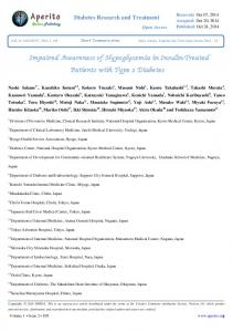 Diabetes Research and Treatment. Impaired Awareness of Hypoglycemia in Insulin-Treated. Patients with Type 2 Diabetes