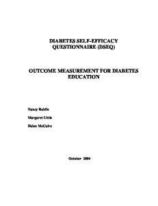 DIABETES SELF-EFFICACY QUESTIONNAIRE (DSEQ) OUTCOME MEASUREMENT FOR DIABETES EDUCATION
