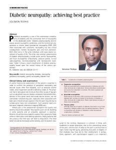 Diabetic neuropathy: achieving best practice