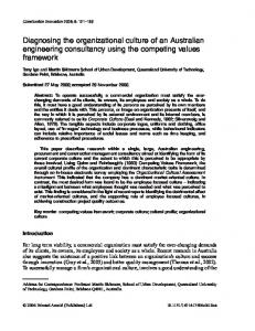 Diagnosing the organizational culture of an Australian engineering consultancy using the competing values framework