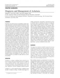 Diagnosis and Management of Achalasia