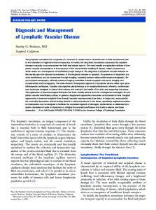 Diagnosis and Management of Lymphatic Vascular Disease