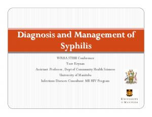 Diagnosis and Management of Syphilis