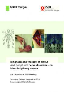 Diagnosis and therapy of plexus and peripheral nerve disorders an interdisciplinary course