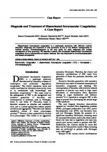 Diagnosis and Treatment of Disseminated Intravascular Coagulation: A Case Report