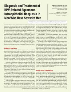 Diagnosis and Treatment of HPV-Related Squamous Intraepithelial Neoplasia in Men Who Have Sex with Men