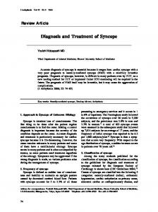 Diagnosis and Treatment of Syncope