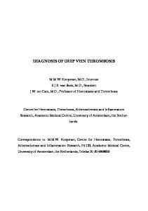 DIAGNOSIS OF DEEP VEIN THROMBOSIS
