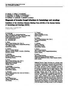 Diagnosis of invasive fungal infections in hematology and oncology