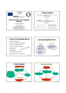 Diagnostic Manual. State of the Art of CSF Diagnostic Methods. Content of the Diagnostic Manual. Laboratory Diagnosis of CSF