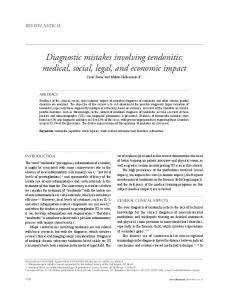 Diagnostic mistakes involving tendonitis: medical, social, legal, and economic impact