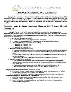 DIAGNOSTIC TESTING AND SCREENING