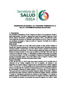 DIAGNOSTICO SITUACIONAL DEL PROGRAMA PROMOCION DE LA SALUD Y DETERMINANTES SOCIALES