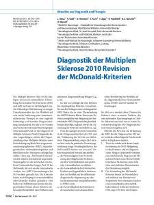 Diagnostik der Multiplen Sklerose 2010 Revision der McDonald-Kriterien