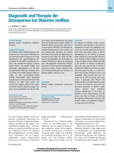 Diagnostik und Therapie der Osteoporose bei Diabetes mellitus