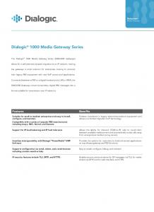 Dialogic 1000 Media Gateway Series