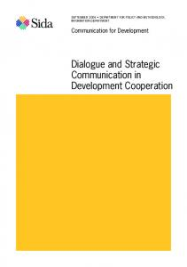 Dialogue and Strategic Communication in Development Cooperation