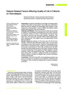 Dialysis-Related Factors Affecting Quality of Life in Patients on Hemodialysis
