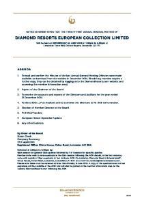 DIAMOND RESORTS EUROPEAN COLLECTION LIMITED