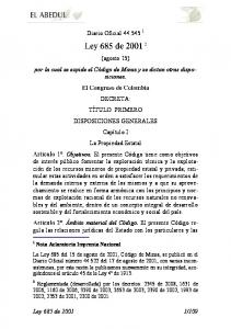 Diario Oficial (agosto 15) por la cual se expide el Código de Minas y se dictan otras disposiciones