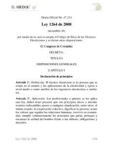 Diario Oficial No Ley 1264 de (diciembre 26)
