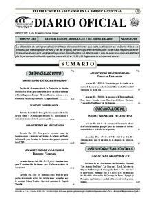 Diario Oficial ORGANO EJECUTIVO ORGANO JUDICIAL INSTITUCIONES AUTONOMAS MINISTERIO DE GOBERNACION MINISTERIO DE HACIENDA MINISTERIO DE ECONOMIA
