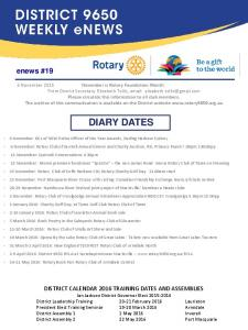 DIARY DATES. enews #19