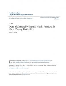 Diary of Corporal William E. Walsh: First Rhode Island Cavalry,