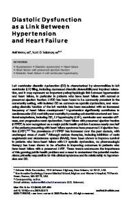 Diastolic Dysfunction asalinkbetween Hypertension and Heart Failure