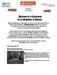 Dickens of a Christmas 2016 Schedule of Events