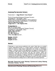 Dickov V, et al.: Analyzing pharmaceutical industry